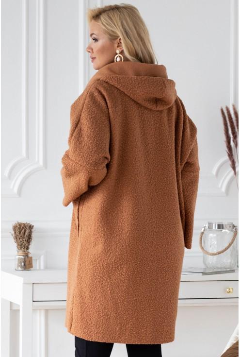 Karmelowy płaszcz zapinany na suwak z kapturem - LINDY