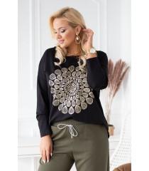 Czarna bluzka ze złotą mandalą - LENORA