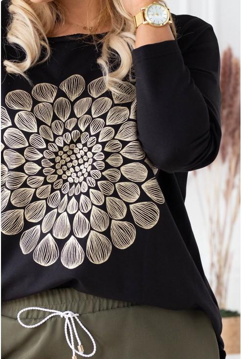 czarna bluzka mandala xxl