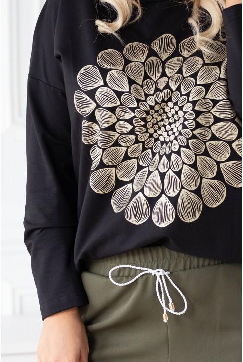 czarna bluzka mandala plus size