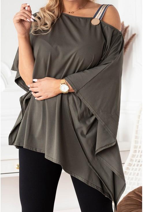 Bluzka oversize w kolorze khaki z ozdobną taśmą - METRIA