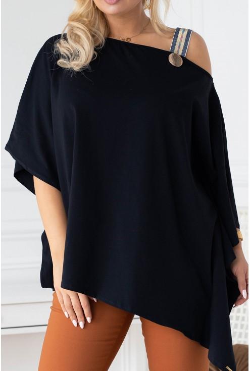Czarna oversizowa bluzka w dużych rozmiarach
