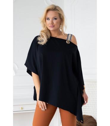 Czarna bluzka oversize z ozdobną taśmą - METRIA