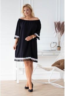 czarna sukienka hiszpanka z frędzelkami plus size