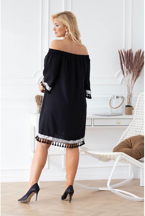Czarna sukienka hiszpanka z ozdobnymi taśmami – MERCY