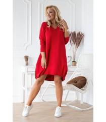Czerwona dresowa sukienka z dekoltem V - NATHALIE
