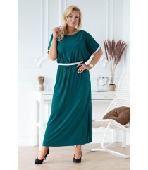 Butelkowa długa sukienka ze srebrnymi taśmami - CLEMENTINE