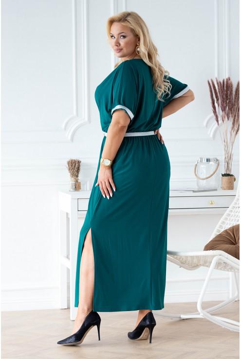 Butelkowa sukienka z rozcięciem dla kobiet plus size