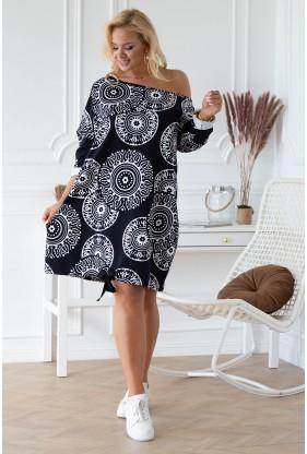 czarna tunika z białym wzorem Ziziss