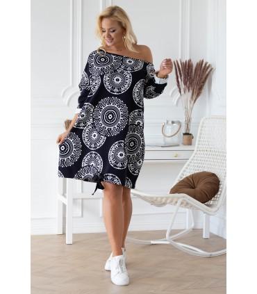 Czarna sukienka hiszpanka-bombka z wzorem mandala - ZIZISS