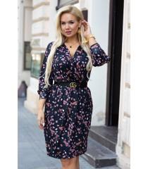 Czarna sukienka w kwiatki z długimi rękawami - CILIA
