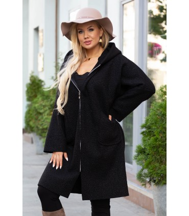 Czarny jesienny płaszcz zapinany na suwak z kapturem - LINDY