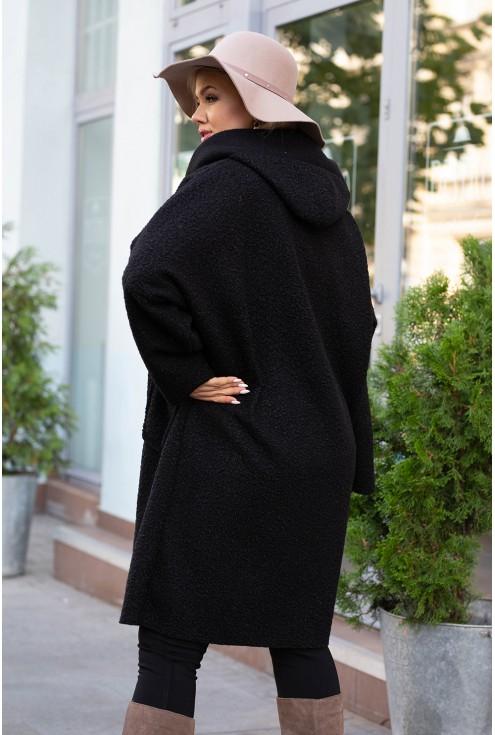 Czarny płaszcz zapinany na suwak z kapturem - LINDY