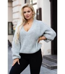 Szary sweter z grubym splotem - EMILLA