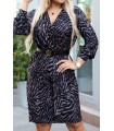 Czarna sukienka w kolorową zebrę z długimi rękawami - CILIA