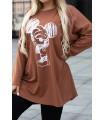 Karmelowa bluzka z kreskówkowym wzorem - MICKEY