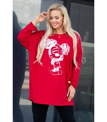 Czerwona bluzka z kreskówkowym wzorem - MICKEY