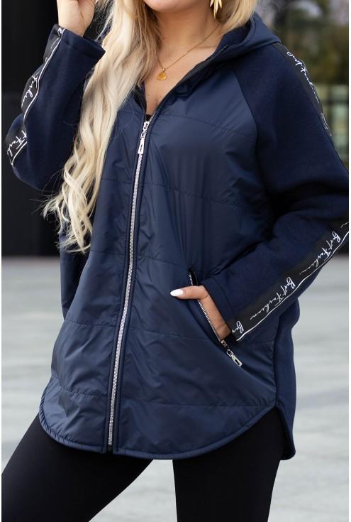 Granatowa bluzo-kurtka z kapturem