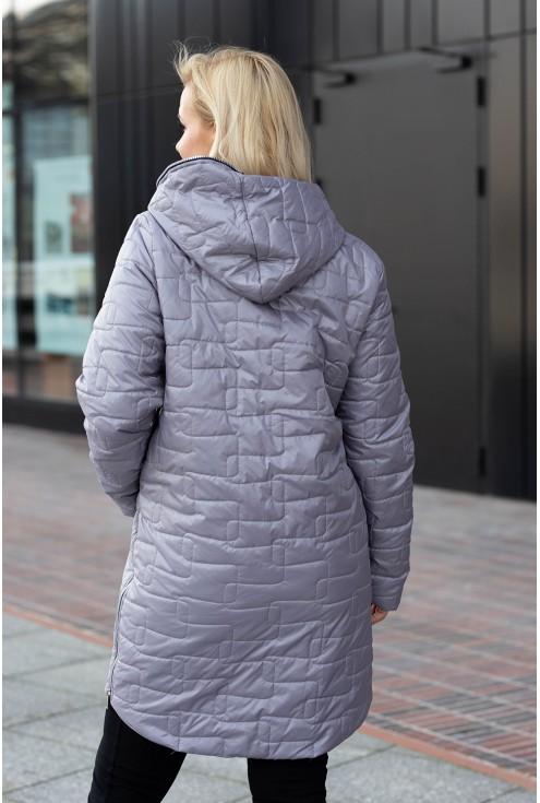 Szara długa kurtka pikowana z kapturem - Scarlett
