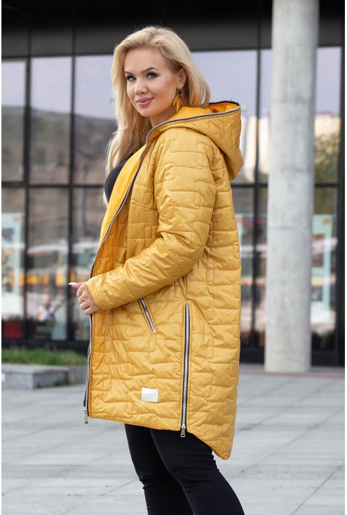 Miodowa długa kurtka pikowana z kapturem - Scarlett