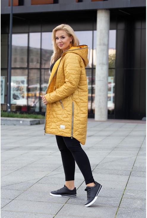 Miodowa kurtka dla kobiet plus size
