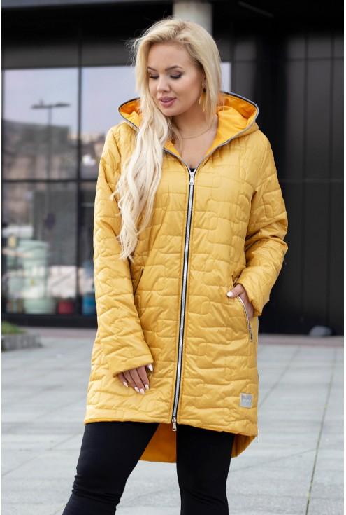 Długa pikowana kurtka z suwakami