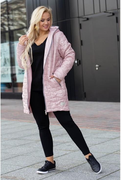 Długa pikowana kurtka z kieszeniami