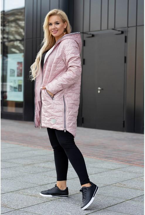 Różowa kurtka z kieszeniami z kapturem