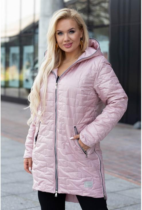 Pudrowo-różowo kurtka długa pikowana