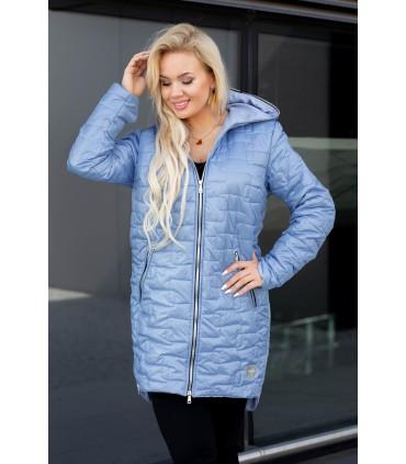 Jasnoniebieska długa kurtka pikowana z kapturem - Scarlett