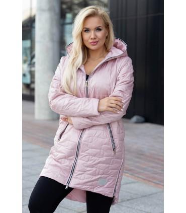 Pudrowo-różowa długa kurtka pikowana z kapturem - Scarlett