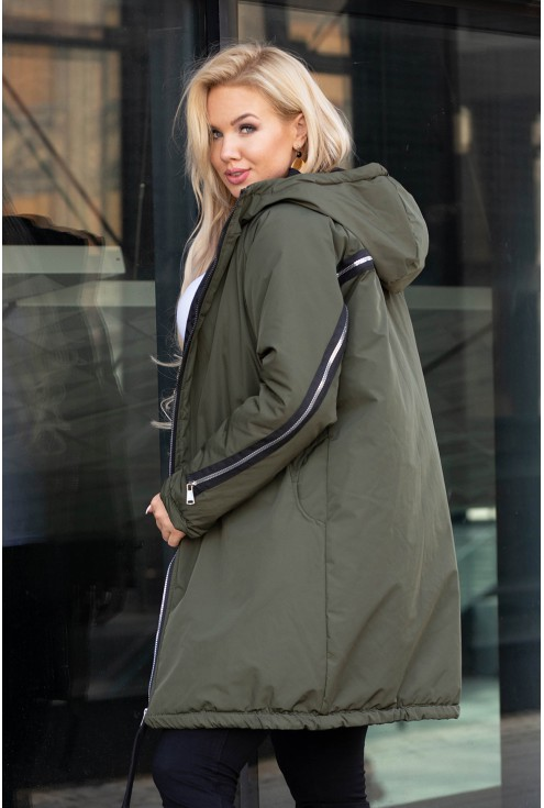 Oliwkowa długa kurtka z suwakiem na plecach