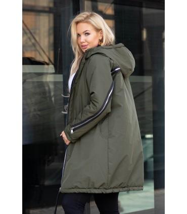 Oliwkowa długa kurtka jesienna - zimowa z ozdobnym suwakiem na plecach - STACY