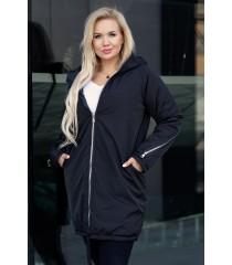 Czarna długa kurtka jesienna - zimowa z ozdobnym suwakiem na plecach - STACY
