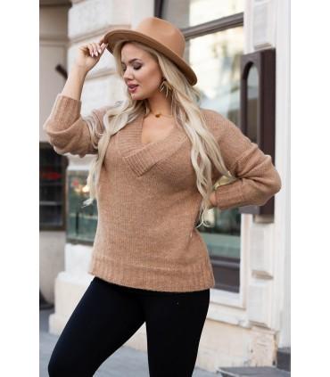 Karmelowy sweter z drobnym splotem - Kristin