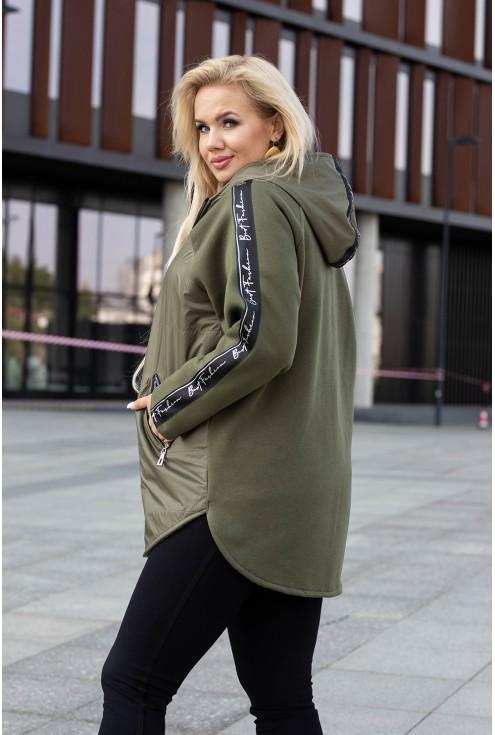 Khaki bluza-kurtka z kapturem z lampasem - OSSIE
