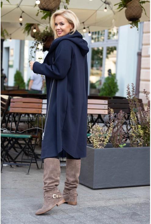 Granatowy dresowy długi płaszcz z kapturem