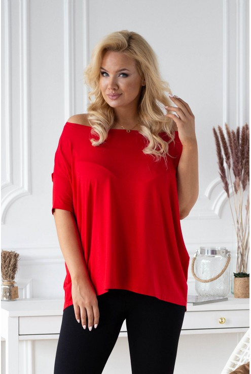 Czerwona overisize bluzka