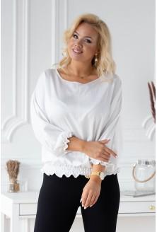 Biała bluzka z ozdobnym ściągaczem
