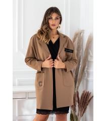 Brązowy elegancki płaszczyk z długim rękawem - DELLA