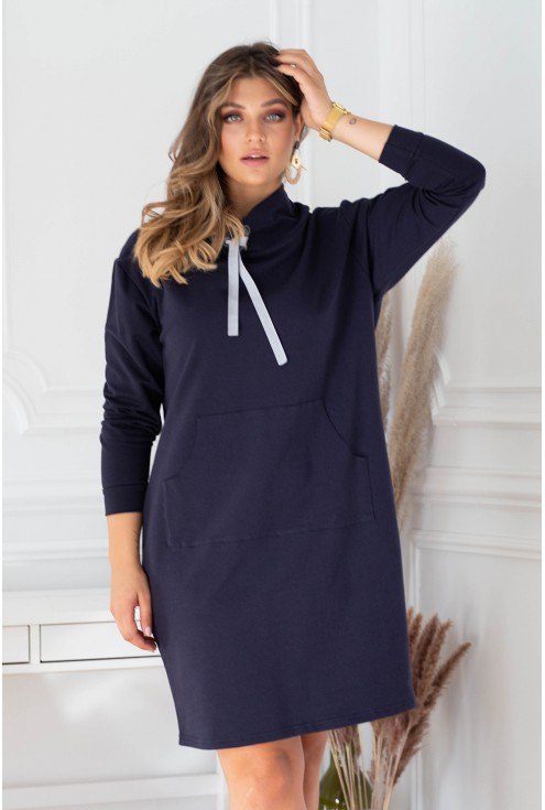 Granatowa sukienka dresowa xxl