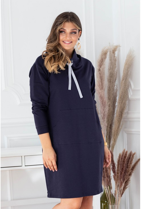 Sukienka tunika z półgolfem i troczkami