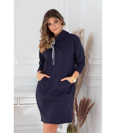 Granatowa tunika/sukienka z półgolfem i troczkami - NATIA
