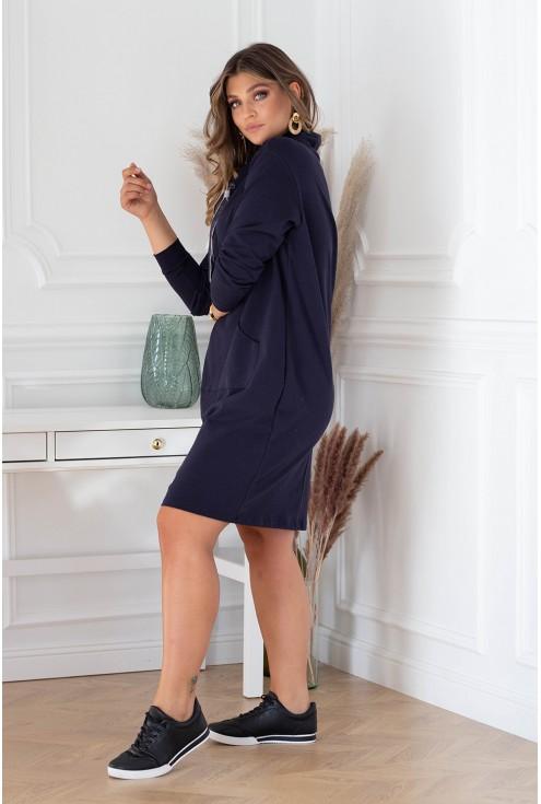Granatowa sukienka xxl z półgolfem