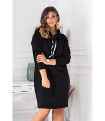 Czarna tunika/sukienka z półgolfem i troczkami - NATIA