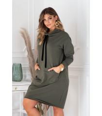 Tunika/sukienka w kolorze khaki z półgolfem i troczkami - NATIA