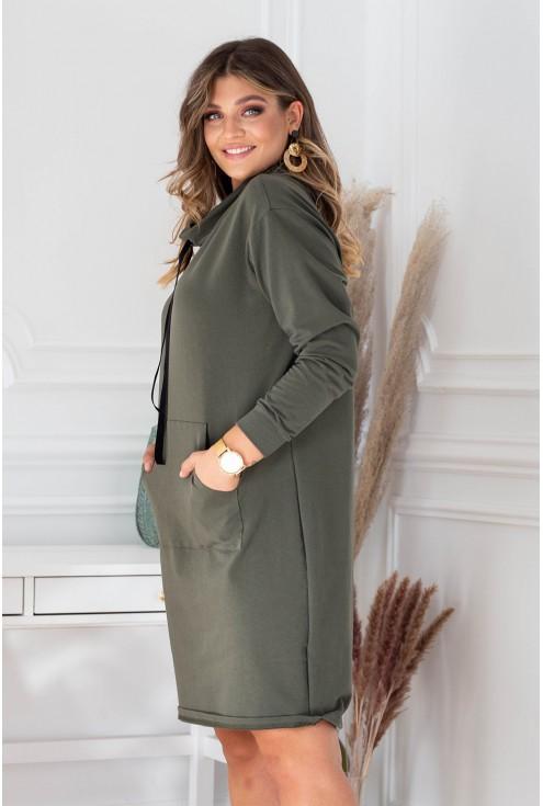Sukienka z półgolfem i troczkami w kolorze khaki