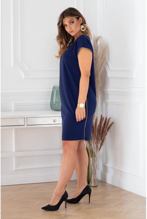 Granatowa sukienka z suwakami Edith