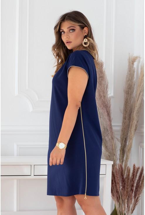 Granatowa sukienka z suwakami duże rozmiary