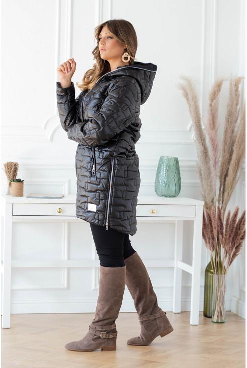 czarna ciepła kurtka  plus size